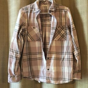 Light Pink Plaid Button-Down Flannel